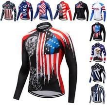 цена на Weimostar Autumn Cycling Jersey Men Long Sleeve USA Team Sports Bicycle Cycling Clothing Spring MTB Bike Jersey Top Cycle Shirt