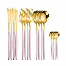 Набор кухонных принадлежностей, вилка, ложка, нож, набор золотистых и розовых столовых приборов из нержавеющей стали, полный Обеденный набо...