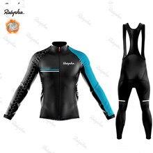 Ralvpha inverno velo térmico manga longa camisa de ciclismo conjunto bib calças ropa ciclismo roupas da bicicleta mtb roupas dos homens terno