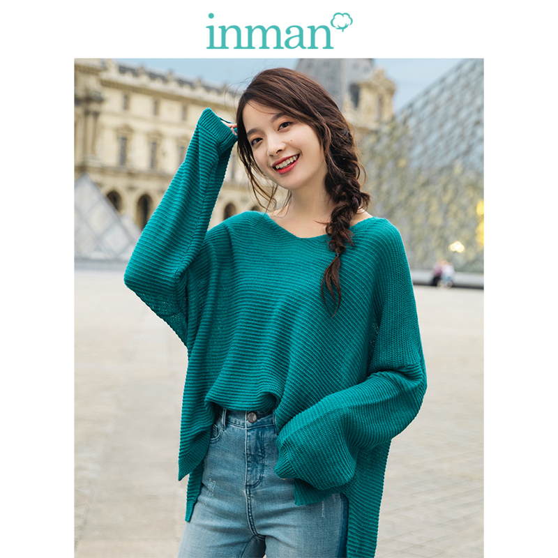 INMAN  O-neck Retro Striped Casual Hongkong Style Loose Drop-shoulder Sleeve Women Pullover