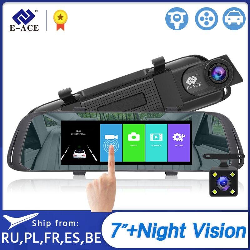 E-ACE 7,0 дюймов сенсорный экран Видеорегистраторы для автомобилей зеркало FHD 1080P видео Регистраторы авторегистратор тире Камера Двойной объек...