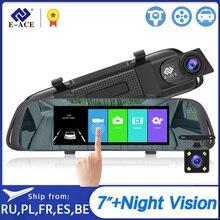 E ACE 7,0 дюймов сенсорный Автомобильный видеорегистратор зеркало FHD 1080P видео регистратор Авто регистратор Даш камера двойной объектив с камерой заднего вида
