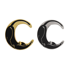New Cat and moon pins Crescent moon Brooches Witchcraft Lapel pins Black Wicca Jewelry Pins for Witches 5.0 джон рёскин этика пыли