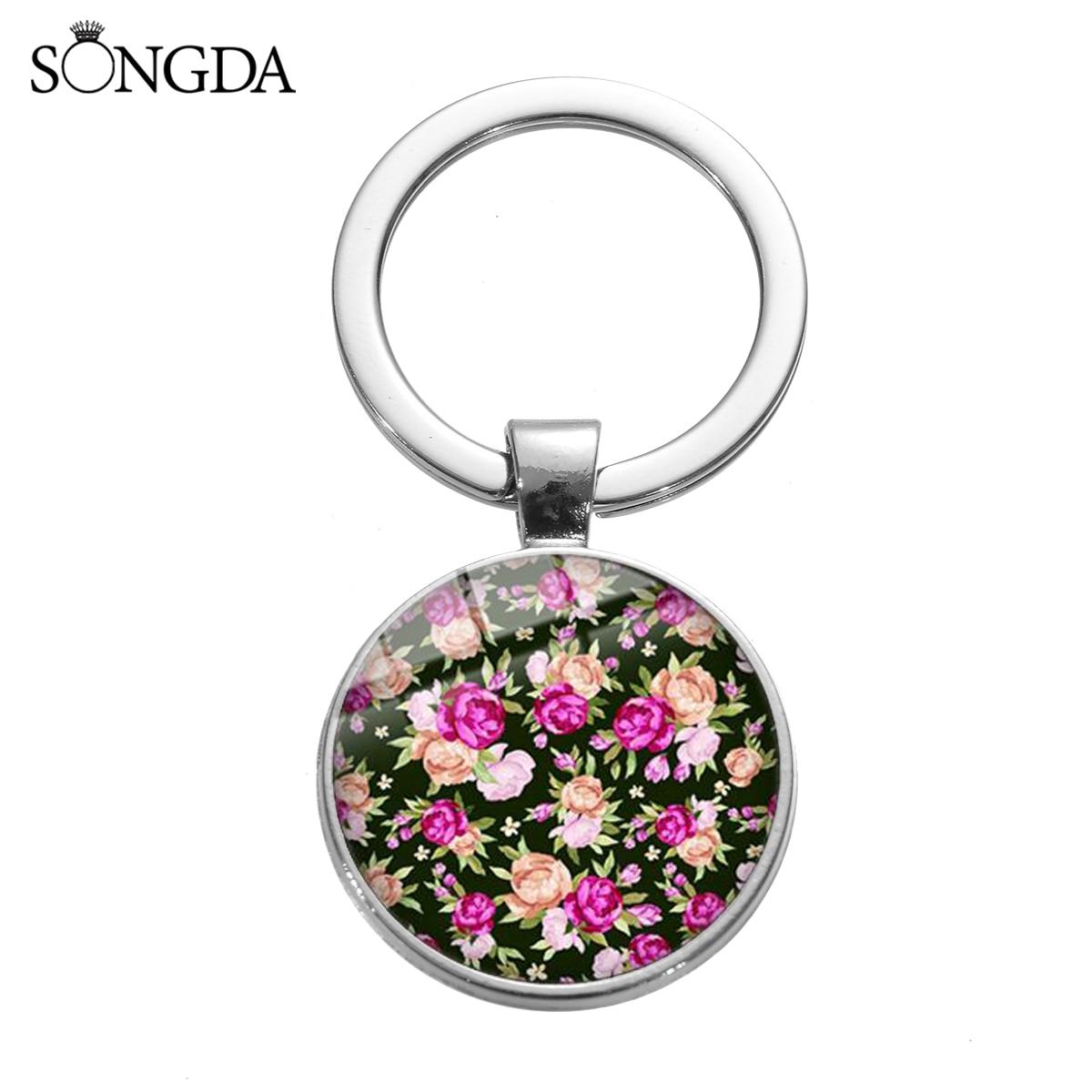 Luxo do vintage rosa flor pingente chaveiro pequeno floral impresso cristal vidro artesanal chaveiro titular jóias atacado