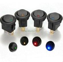 20 pces 12 v led interruptor de balancim luz de ponto led 3 pinos interruptor de ligar-desligar led iluminado painel do carro painel de instrumentos spst interruptor de alternância