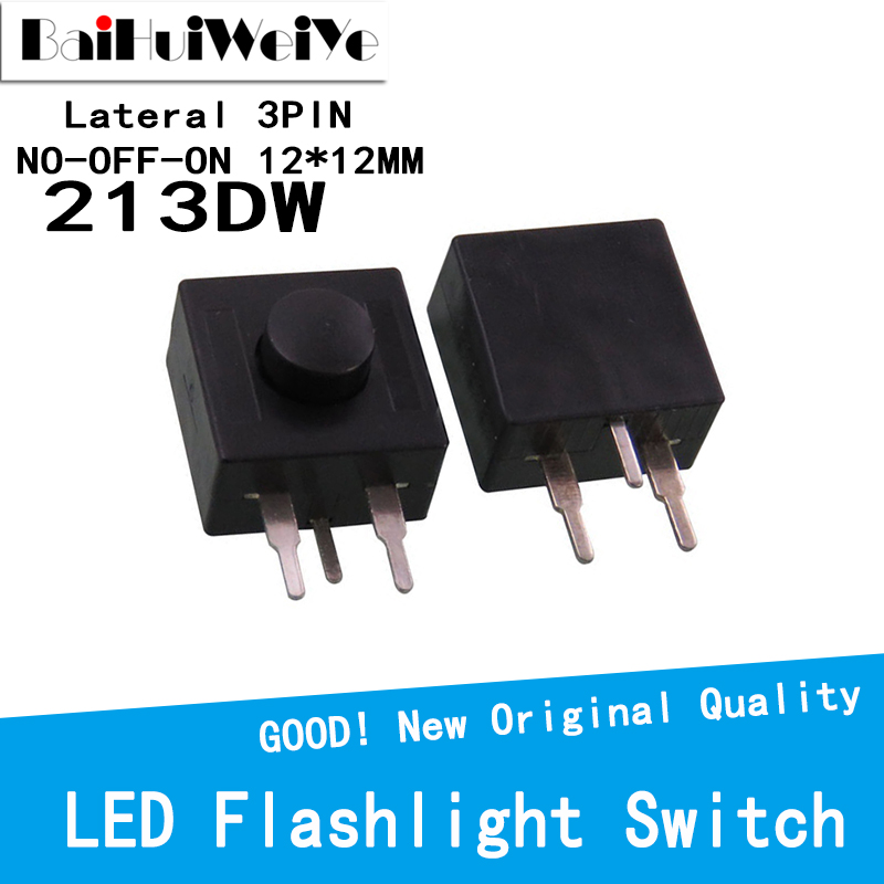 20PCS Flashlight Button Switch  YT-213WD 213WD Lateral 3Pins Feet 12 * 12 mm self-locking switch NO-OFF-ON 2 Open 1 Close 30V 1A