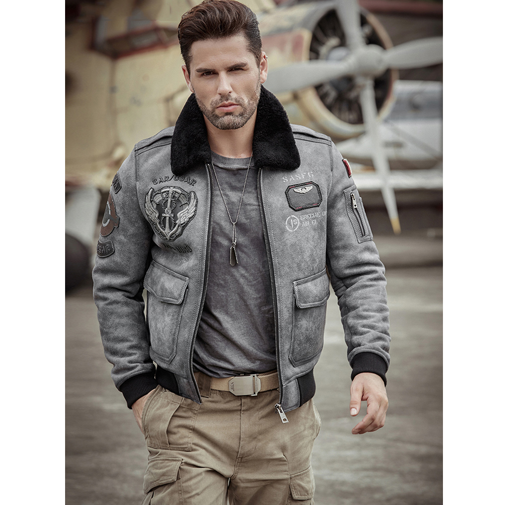 2019 New B6 Mens Sheepskin Shearling Jacket Flight Jacket Mens Leather Jacket Fur Coat Embroidered Aviator Mens Winter Coats