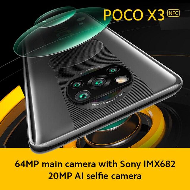 В наличии глобальная версия POCO X3 NFC Snapdragon 732G 120Hz DotDisplay Смартфон Xiaomi 5160mAh 33W Быстрая зарядка 64-мегапиксельная четырехъядерная камера 6