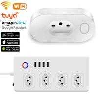 Wifi Tuya Smart Buchse Brasilien Stecker Timer Power Streifen Mit 4 USB Port Mehrere Outlet Verlängerungskabel Smart Home Control