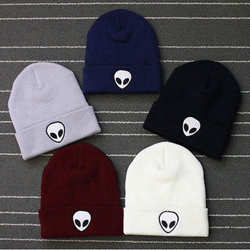 Embroidery Alien Hat Winter Men Women Cuff Hats Soft Beanies UFO Warm Unisex Knitted Caps Woman Solid Color Hip Hop Boys Girls