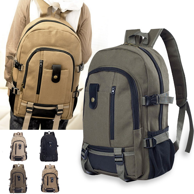 MoneRffi Men Canvas Backpack Leisure Travel Vintage Fashion Laptop Backpack Shoulder Bag Computer Functional Versatile Bags