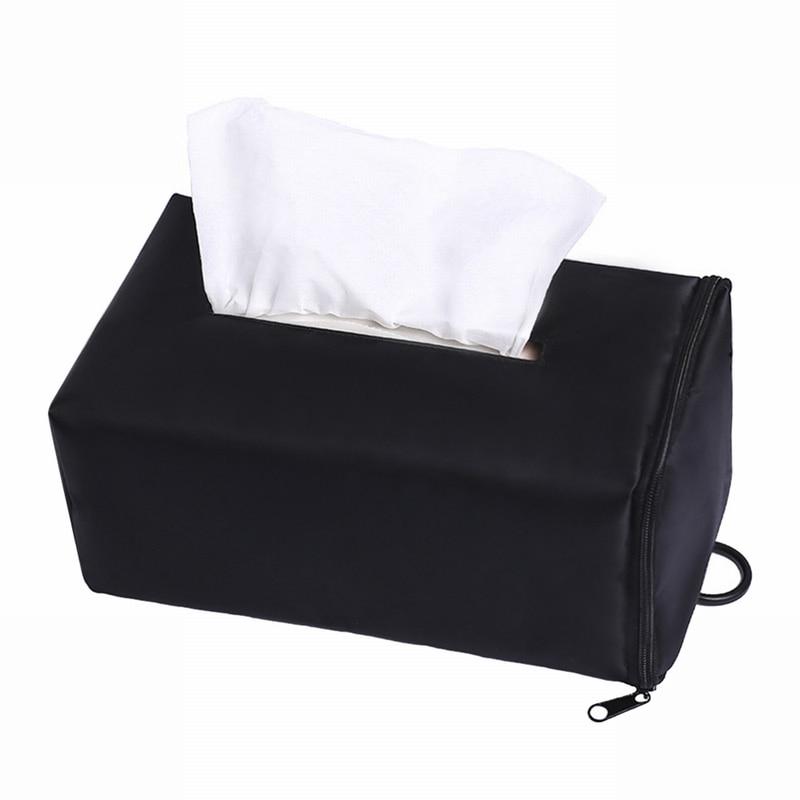 Rectangle Car Home Leather Case Paper Tissue Storage Box Holder Organizer Black