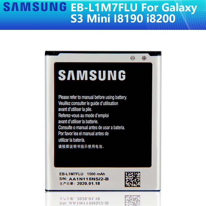 SAMSUNG Original Replacement Battery EB-L1M7FLU For Samsung Galaxy S3 Mini S3Mini GT-I8190 I8190N I8190 GT-i8200 1500mAh NFC image