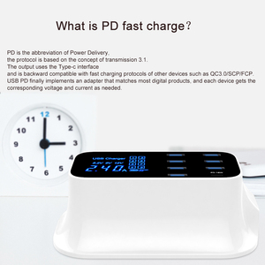 Image 2 - GOOJODOQ ładowarka PD 40W 8 Port USB ładowarka inteligentny wyświetlacz ledowy USB szybkie ładowanie dla Apple iPhone Adapter ipad Xiaomi Samsung