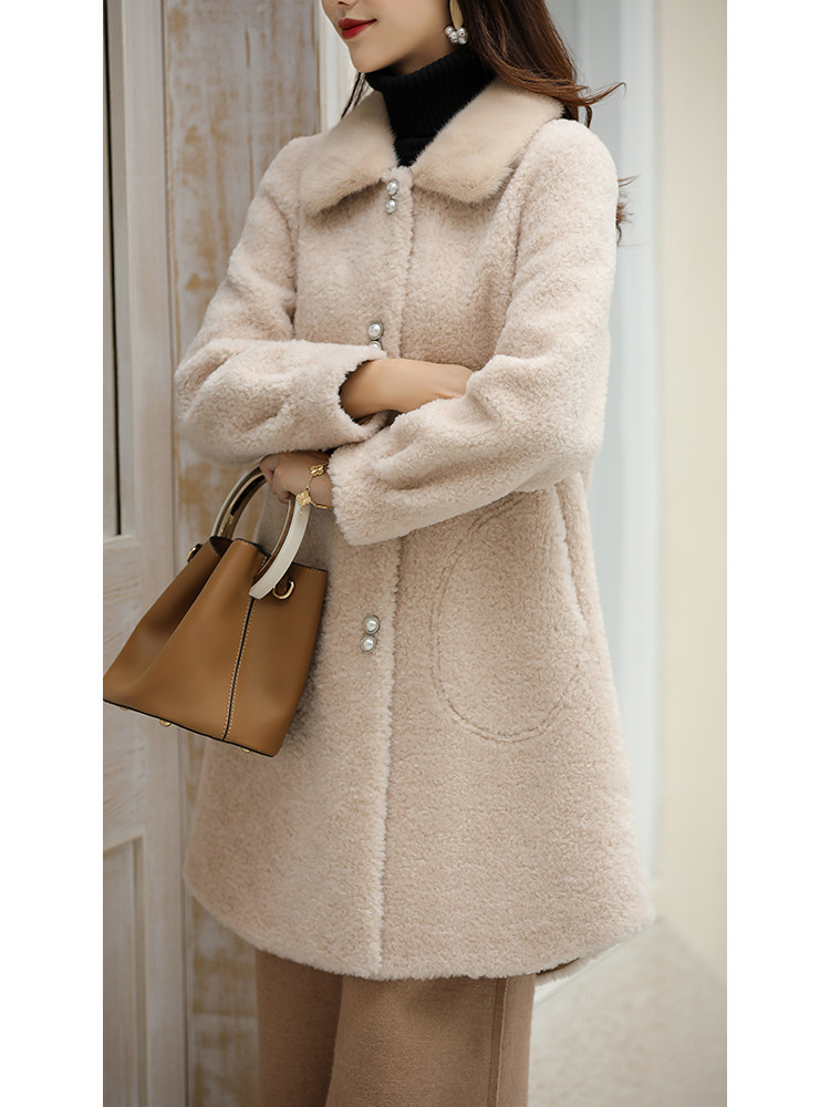 Coat Fur Real Female Sheep Shearling Winter Jacket Women Mink Fur Collar 100% Wool Coat Korean Jackets Manteau Femme MY S