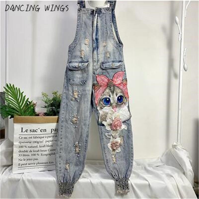 Women Print Cartoon Cat Denim Jumpsuits Rompers Overalls New Hole Loose Beaded Jean Pants Female Casual Long Pants