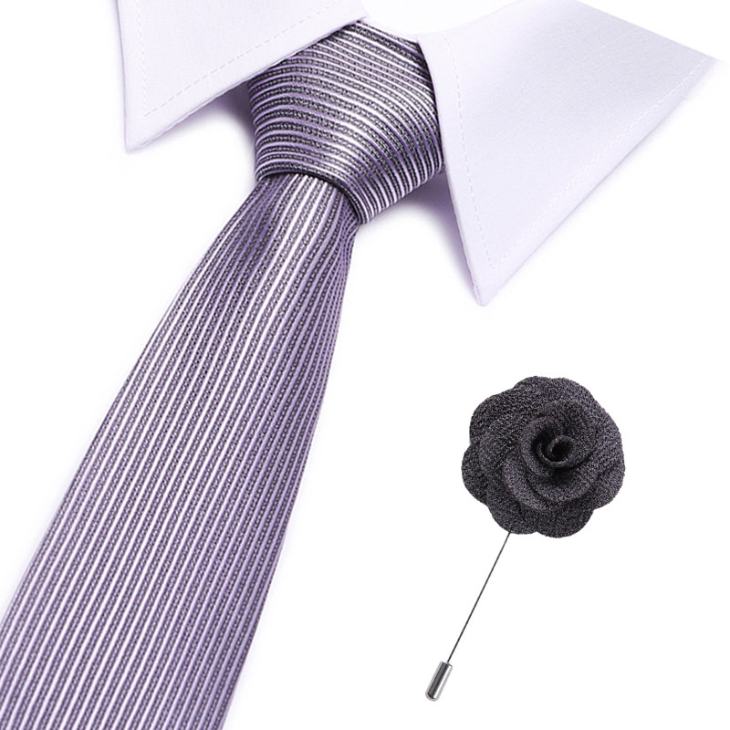 Silver Ties For Men Striped/plaid 7.5cm Men's Neckties& Pin A Set Wedding Suit Neck Tie Red Black White Gravata