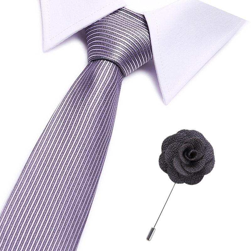 Silver Ties For Men Striped/plaid 7.5cm Men's Neckties& Pin A Set Wedding Suit Neck Tie Red Black White Gravata