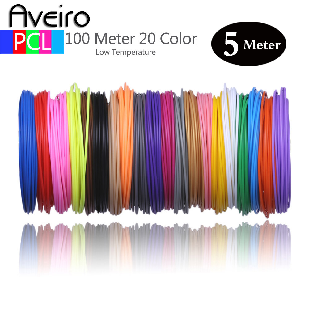 50 100 Meters 10 20 Colors 1 75mm PCL Filament Plastic for Low Temperature 3D Printing Pen No Smell No Pollution 3 d Materials