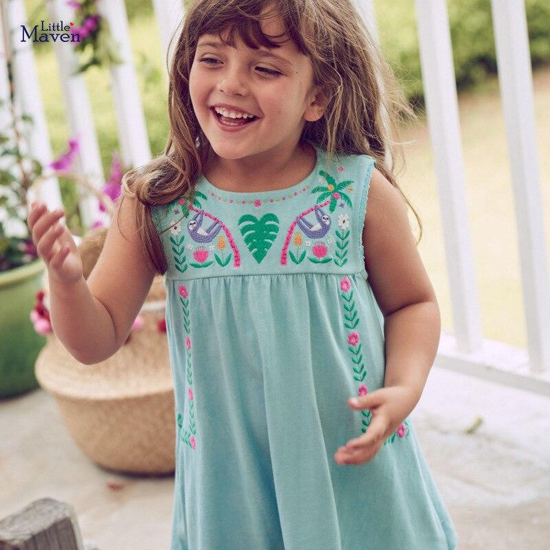 Vestido Little maven Flores Apliques Vestido princesa para niñas Verano 2020 Vestido para niños Vestidos elegantes de algodón para niñas Trajes de primavera para niñas, niñas, raglans florales con cinturón, jeans, ropa de verano para bebés y niños