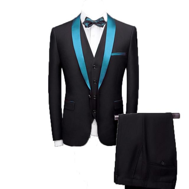 3 PCs Men Spring Autumn Red Shawl Collar Groom Wedding Suit Costume Homme Mariage Blazer Gala Party Suit(jacket+vest+pants)