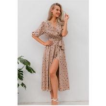 Vestido bohemio de lunares abullonada elegante para mujer, ropa de calle Retro con escote en V y manga abullonada elegante para fiesta de otoño 2020