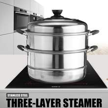 Steamer Pot Cooking-Pots Gas-Stove Induction-Cooker Soup Three-Layer Thick for Universal