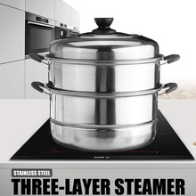 Stainless Steel Three layer Thick Steamer pot Soup Steam Pot Universal Cooking Pots for Induction Cooker Gas Stove steam pot