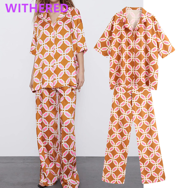 Withered England Vintage Printing Loose Kimono Blouse Women Blusas Shirt Womens Harem Pants Women Trousers Women Two Pieces Set