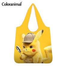 Coloranimal прекрасный Пикачу аниме шаблон Shopper мешки продуктовые сумки для женщины Человек большой эко-сумки для хранения мужской женский
