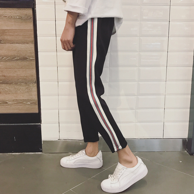 Aberdeen Literature And Art Men's 2017 Autumn New Style Korean-style Stripes Couples Capri Pants Loose Casual Men's Hong Wave Ve