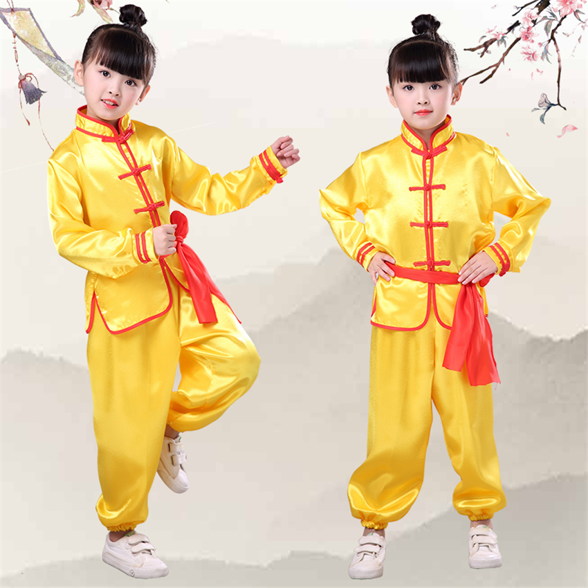 Kids Chinese Kung Fu Clothing Traditional Wushu Tai Chi Uniform For Boys Girls China Culture Tang Suit Performance Costumes