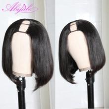 Парики на сетке Abijale с U-образной частью, бразильские прямые человеческие волосы, короткие боб для черных женщин, предварительно выщипанные ...