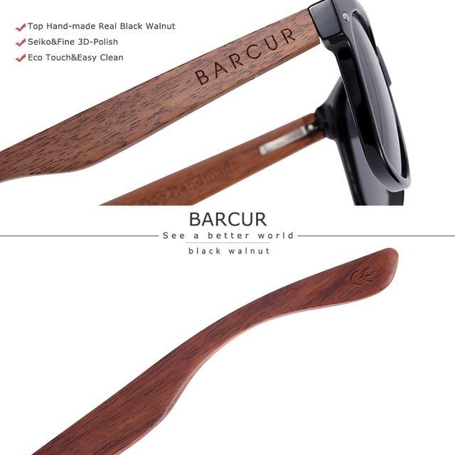 BARCUR High Quality Black Walnut Sunglasses Anti-Reflecti Men Women Mirror Sun Glasses Male UV400 Wooden Sunglass Shades Oculos 3
