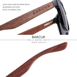 Image 3 - BARCUR באיכות גבוהה אגוז שחור משקפי שמש נגד Reflecti גברים נשים מראה שמש משקפיים זכר UV400 עץ גווני משקפי שמש Oculos
