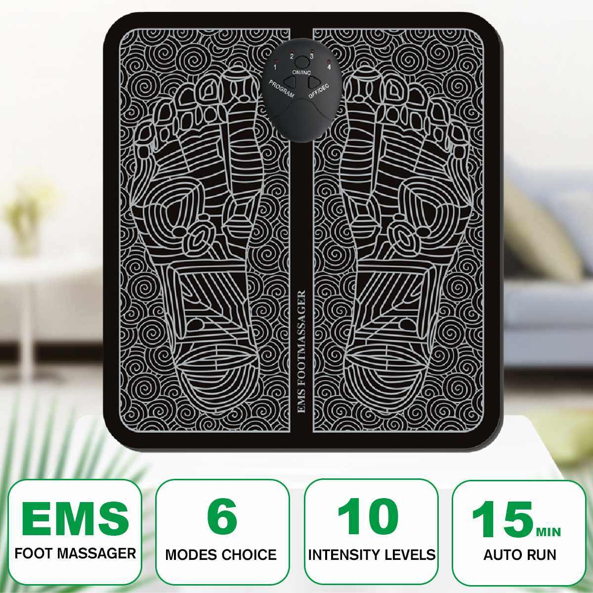 USB EMS Electric Foot Muscle Massager Foot Mat 6 Modes To Promote Blood Circulation Relax Muscle Pressure