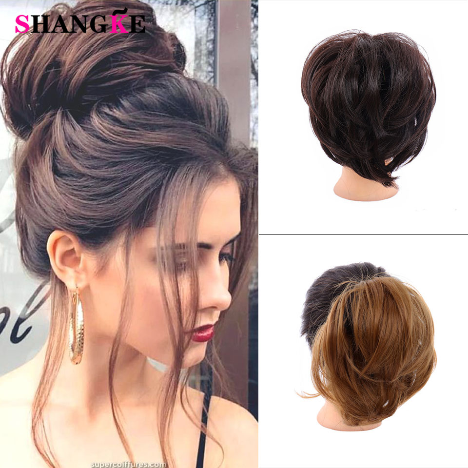 Lupu Gray Brown Bed Straight Hair Extensions Pad Elastic Hair Rope Rubber Band Chignon Donut Hair Bun Synthetic Chignon Aliexpress