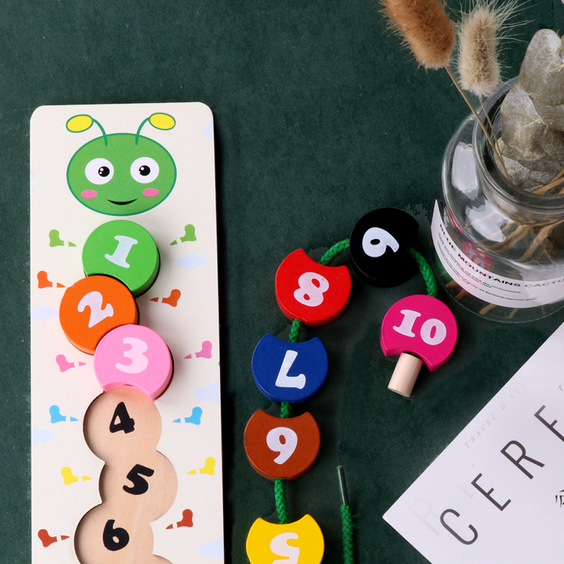 Numbers Math Toy Threading Caterpillar Develop Intelligence Learn Counting Mathematics Teaching Aids Kids Wooden Montessori Toy