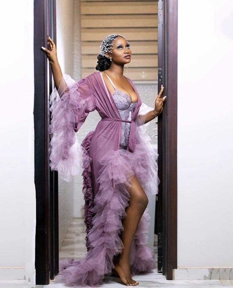 Elegant Ruffles Bridal Jackets Plus Size Long Sleeve Night Robe Photography Dress For Women Party Sleepwear Nightgown Robes