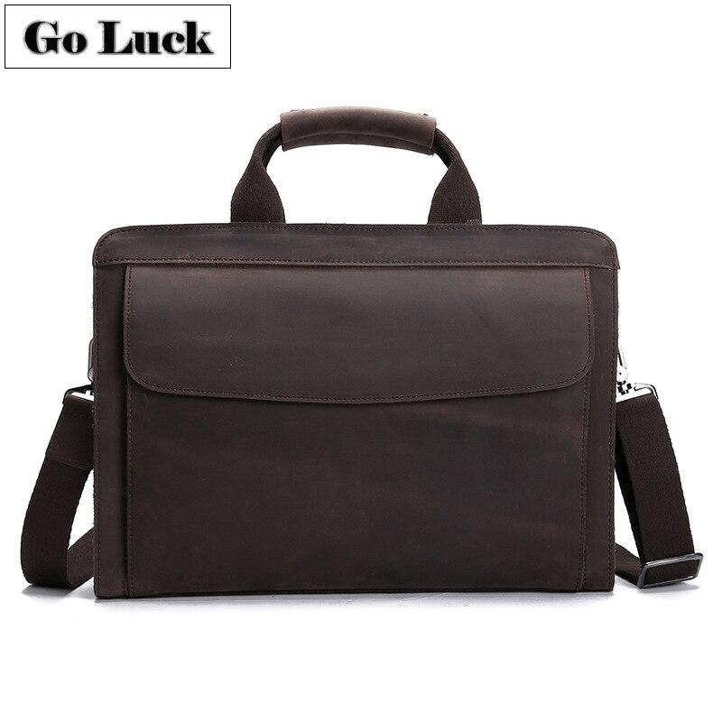 GO LUCK, натуральная кожа Crazy Horse, с верхней ручкой, 14 дюймов, деловой портфель, сумка, мужская сумка через плечо, мужские сумки мессенджеры