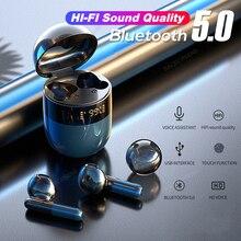 חדש TWS ספורט Bluetooth 5.0 אלחוטי אוזניות רעש ביטול HIFI HD סטריאו עמיד למים עם מיקרופון מגע Contorl אוזניות