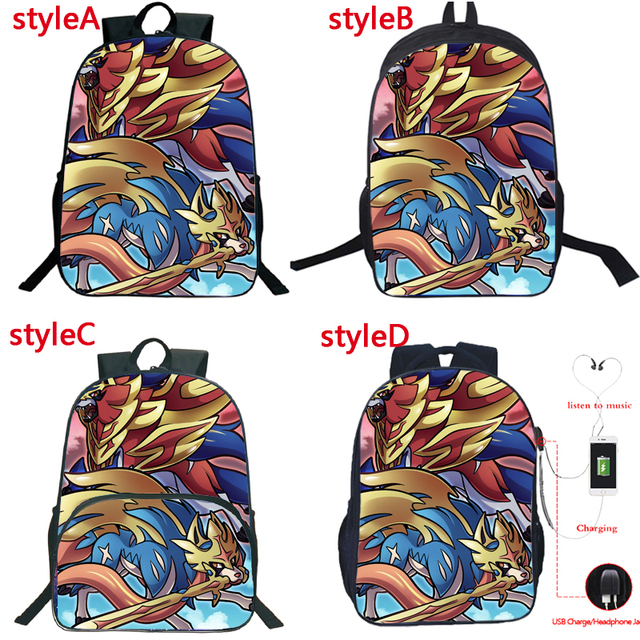 New Game Sword Shield Backpack Multifunction USB Charge Headphone Jack School Bags for Teenagers Daily Travel Mochilas