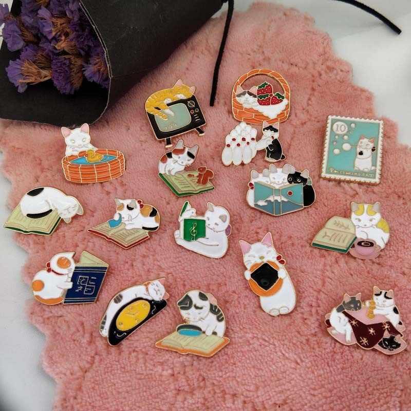 Японский мультяшный Кот модель в виде капель масла брошь Эмаль Глазурь котенок значок аксессуары оптом и в розницу