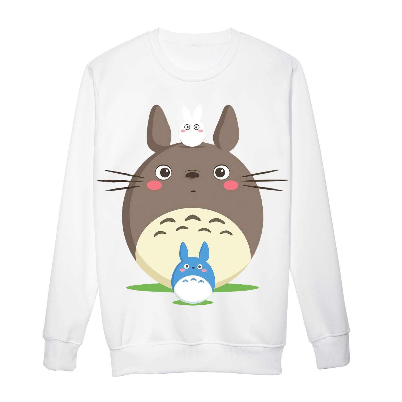 2019 Totoro 3D Hoodies Kaus Animasi Kawaii Hoodies Wanita Musim Gugur Lengan Panjang Pakaian Latihan Yg Hangat Kebesaran Hoodie Fashion Pakaian