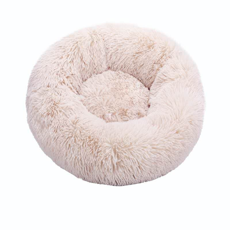 Beige-Round Cat Beds House Soft Long Plush Best Pet Dog Bed For Dogs Basket Pet