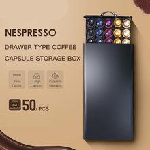 Cajón de rejilla de almacenamiento Nespresso con pantalla chapado negro, soporte para cápsulas de café inoxidable, soporte para máquina de café, dibujo de Metal, 50 Uds.