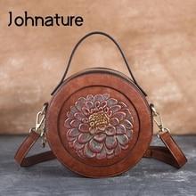 Johnature 2021 New Handmade Embossed Women Leather Bag Vintage Floral Ladies Small Handbag Luxury Female Shoulder Messenger Bags