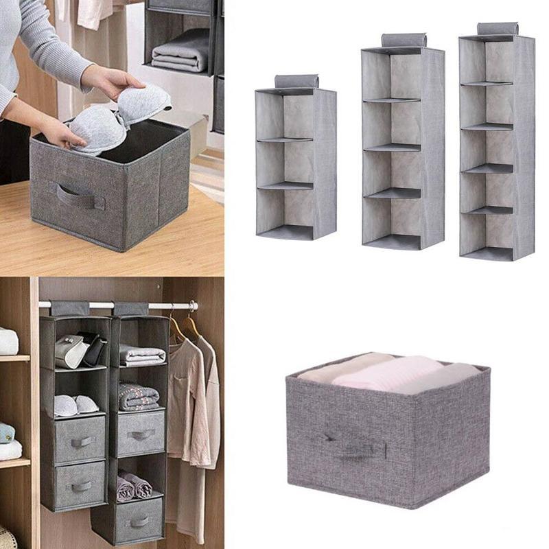 3/4/5 Layer Closet Organizer Wardrobe Storage Cabinet Cloth Hanging Organizer Storage Fabric Dust-proof Shoe Storage Rack Shelf