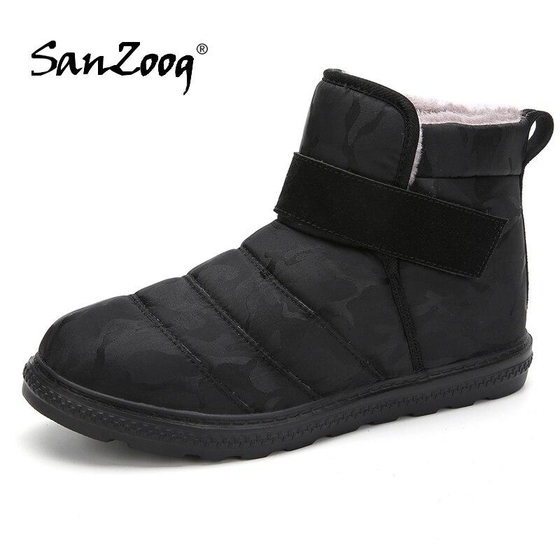 Plush Ankle Waterproof Mens Winter Boots Snow Shoe