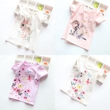 Новая хлопковая детская футболка; детские летние футболки с короткими рукавами; Одежда для девочек; детская футболка с рисунком кота, кролика, бабочки; топы для малышей